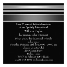 Elegant retirement party invitations gray and black back