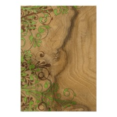 Natural wood and floral fundraiser environmental themed invitations back