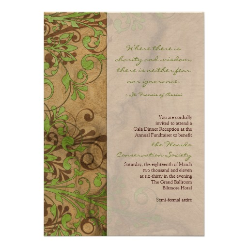 Natural wood and floral fundraiser environmental themed invitations