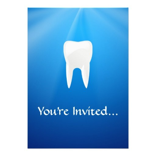 White tooth on blue background dental themed invitations