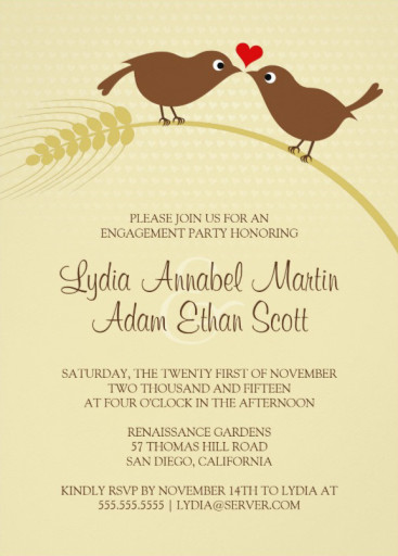 Love bird rustic engagement party invitations