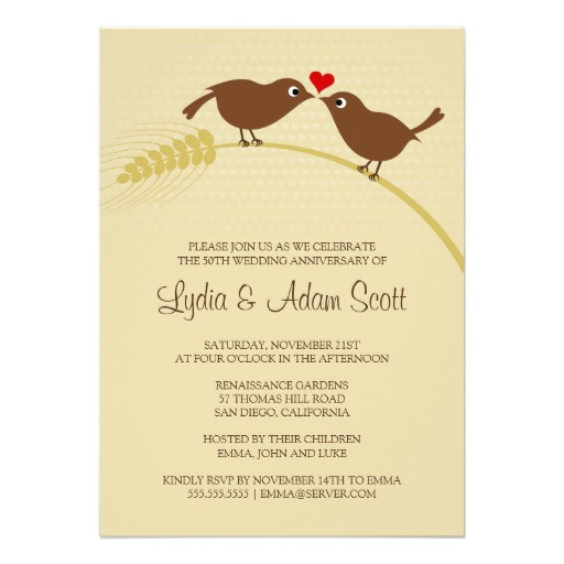 Love Bird Rustic Wedding Anniversary Invitations  Personalized