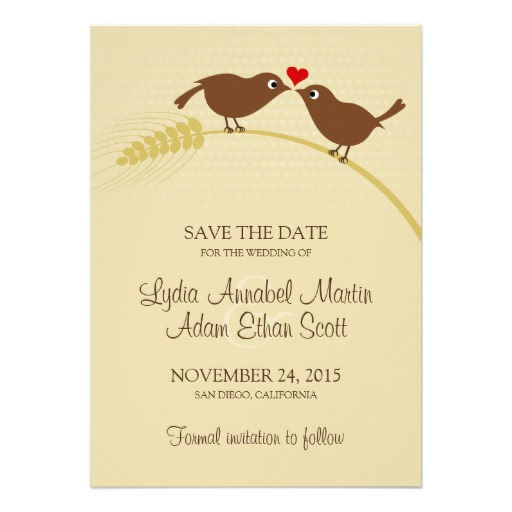 Love bird rustic wedding save the dates
