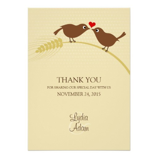 Love bird rustic wedding thank you cards