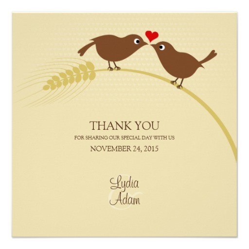 Love birds wedding thank you cards - Square