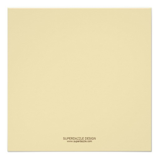 Square beige invitation back