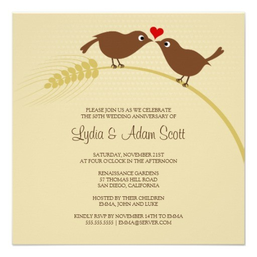 love birds wedding anniversary invitation - Square