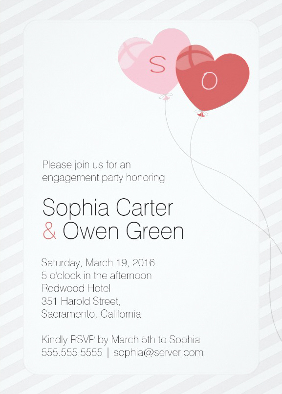 Heart balloon engagement party invitations
