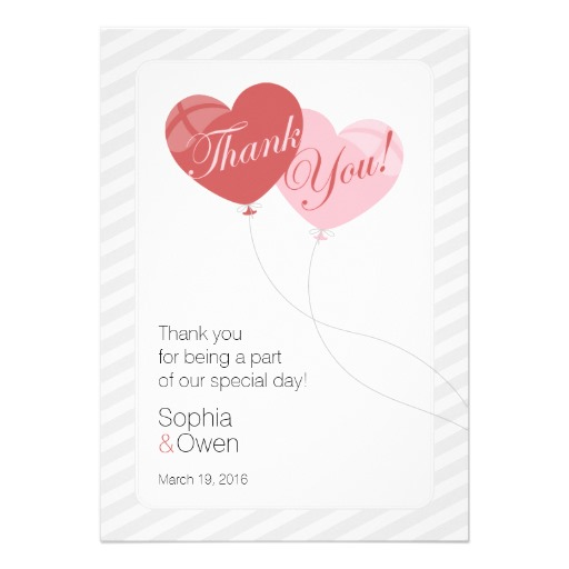 Heart balloon wedding thank you cards
