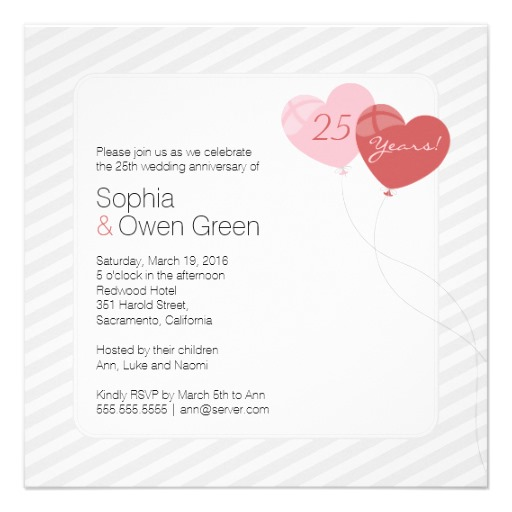 Heart balloons 25th wedding anniversary invitations