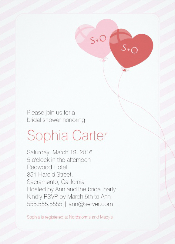 Heart balloons elegant bridal shower invitations
