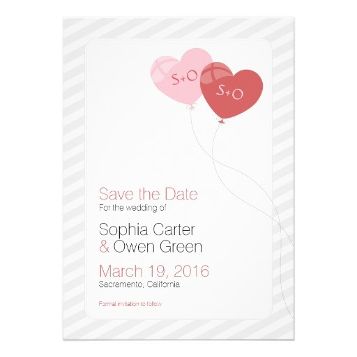 Heart balloons personalized wedding save the dates