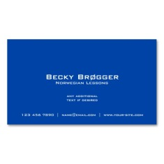 Back of Norway flag business cards / Norwegian teacher business cards