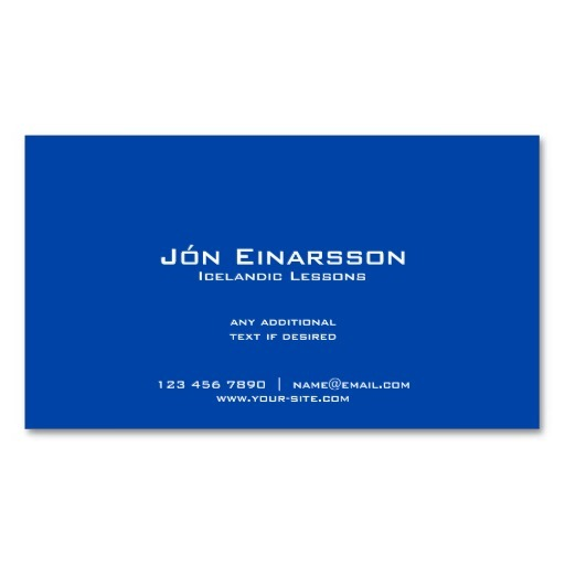 Back of Iceland flag business cards / Icelandic teacher business cards