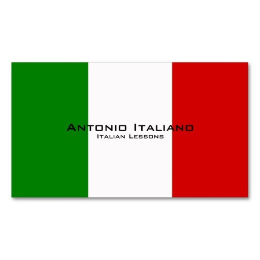 Italian flag business cards / Italian teacher business cards