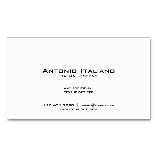 Back of Italian flag business cards / Italian teacher business cards