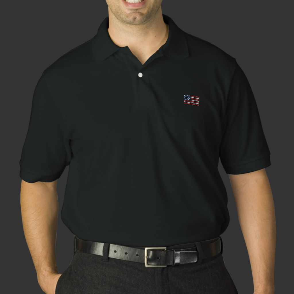 Dotted American flag mens black polo shirt
