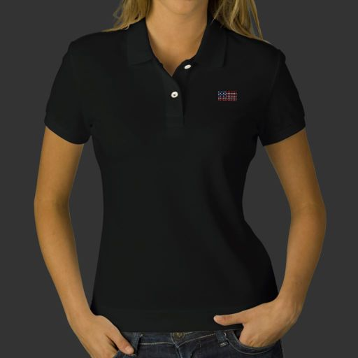 Dotted American flag womens black polo shirt