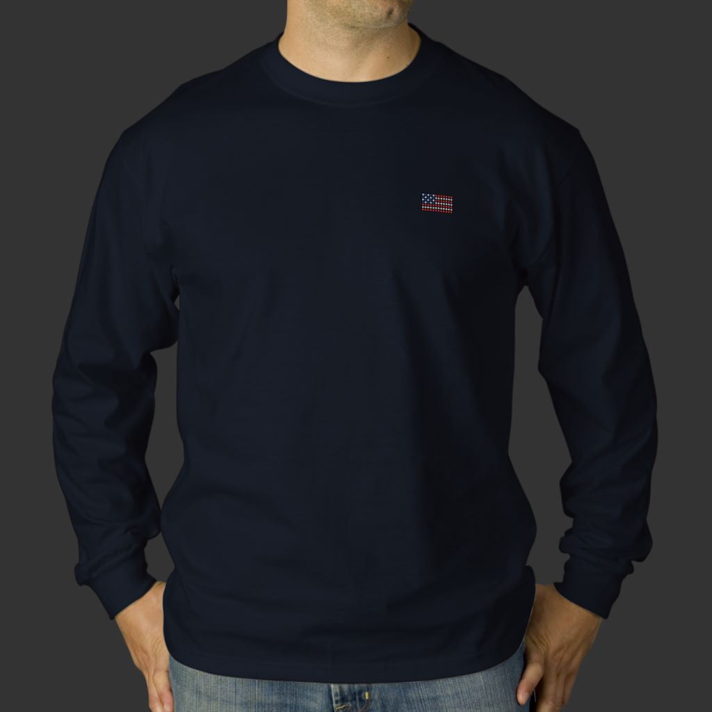 Unique navy blue American flag long sleeve t shirt