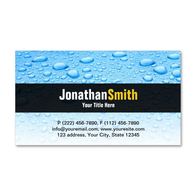 Plumber business cards with blue water drops