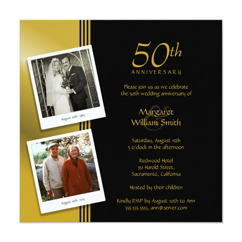 50th anniversary archives superdazzle custom invitations golden anniversary invitations now and then photos stopboris Images