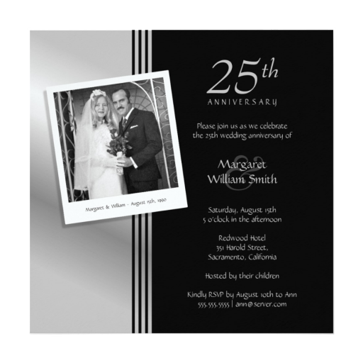Silver Anniversary Invitation With Photo