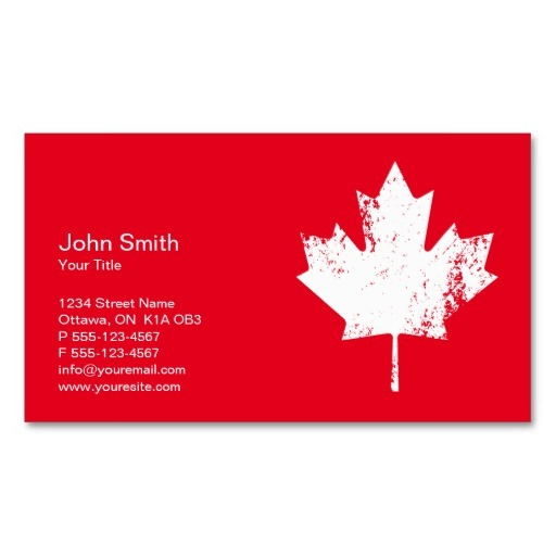 Canada business cards - White Maple Leaf
