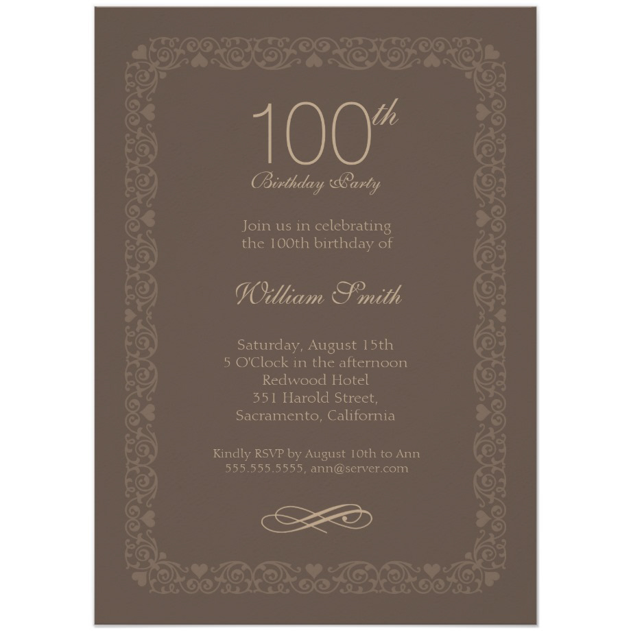 Brown Classic 100th Birthday Invite