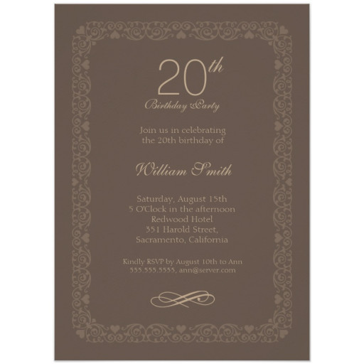 Brown Classic 20th Birthday Invite