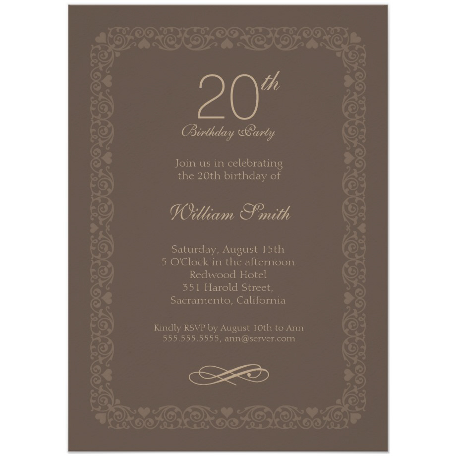 brown classic 20th birthday invite - order now