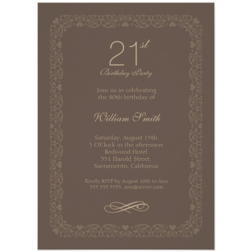 Brown Classic 21st Birthday Invite