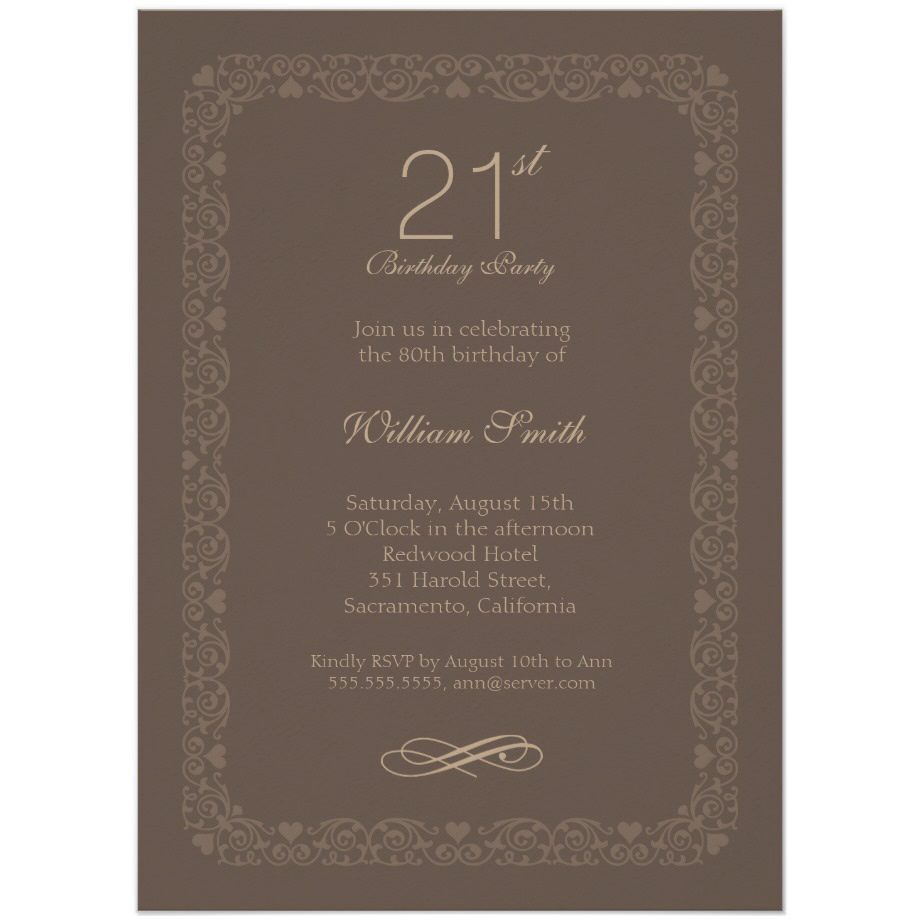 Brown classic 21st birthday invite order now brown classic 21st birthday invite filmwisefo