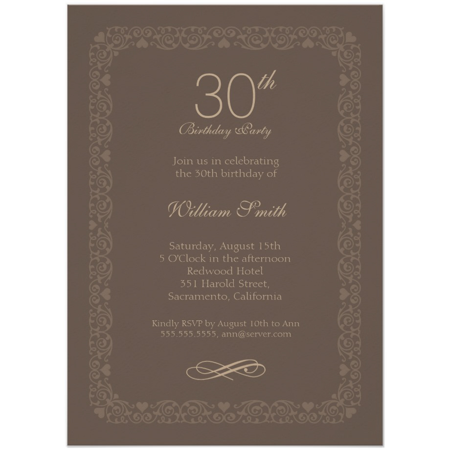 Brown Classic 30th Birthday Invite