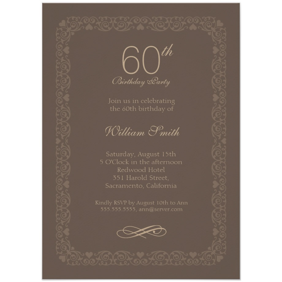 Brown Classic 60th Birthday Invite - Order Now