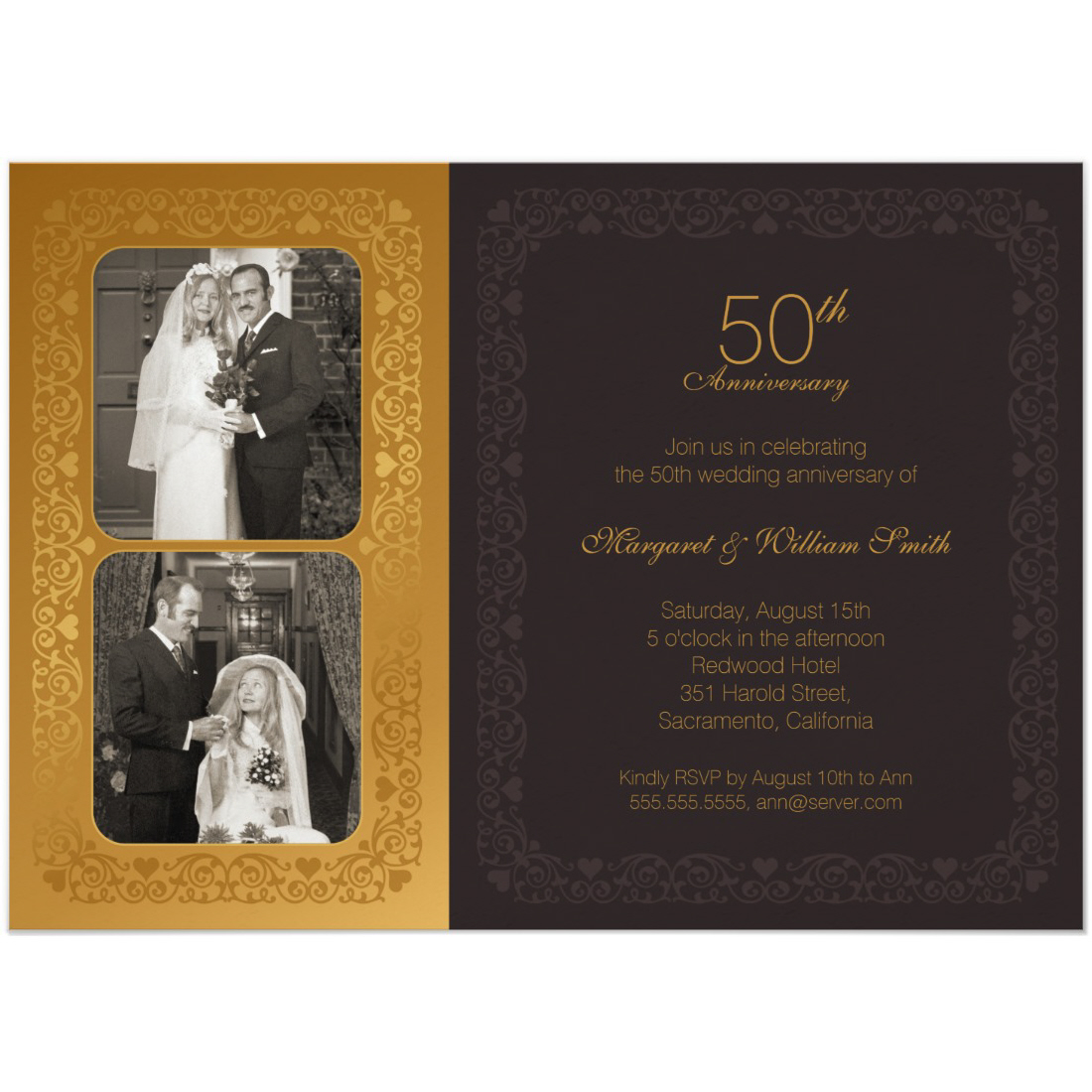 Elegant Two photos 50th wedding anniversary invitation