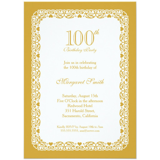 Elegant lace 100th birthday party invitations - Choose your own colors