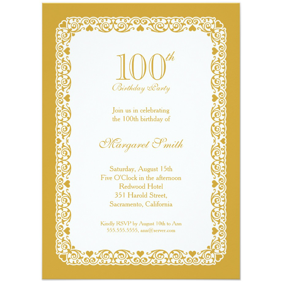 Elegant lace 100th birthday party invitations choose your own colors filmwisefo