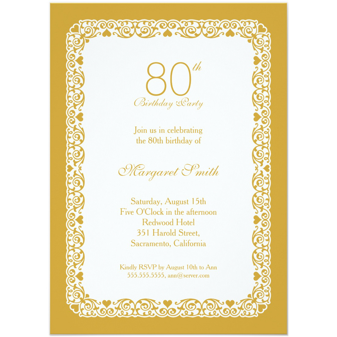 elegant lace 80th birthday party invitations choose your own colors