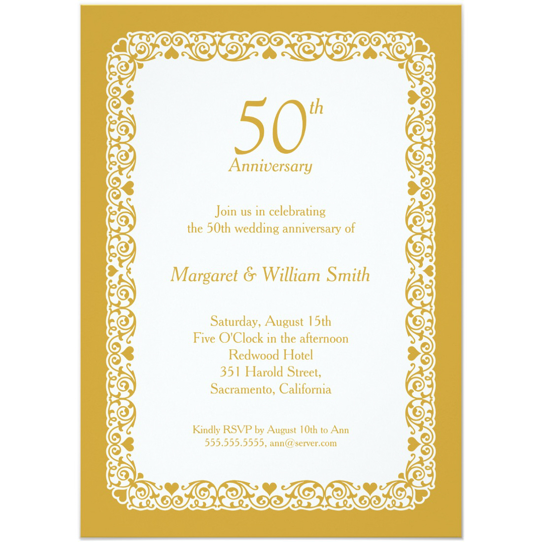 Elegant lace wedding anniversary invitation Custom Colors