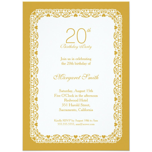 Elegant personalized 20th birthday party invitations - Choose your own colors