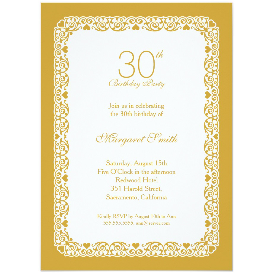 elegant personalized 30th birthday party invitations