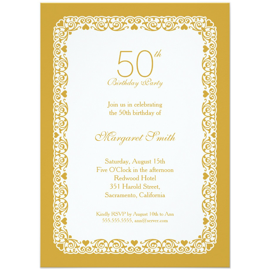 Elegant personalized 50th birthday party invitations - Choose your own colors