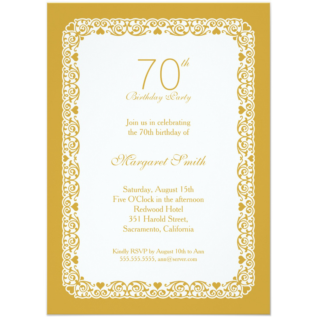 Elegant personalized 70th birthday party invitations