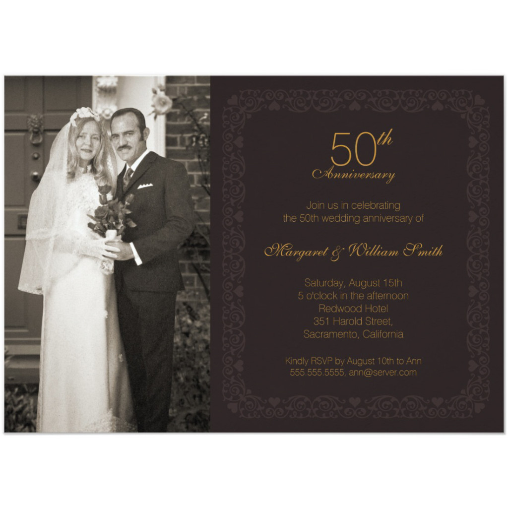Elegant photo 50th wedding anniversary invitation