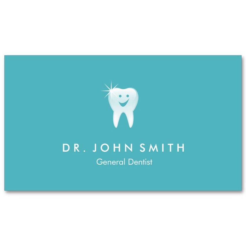 Aqua blue dental visiting card design happy shiny tooth appointment card