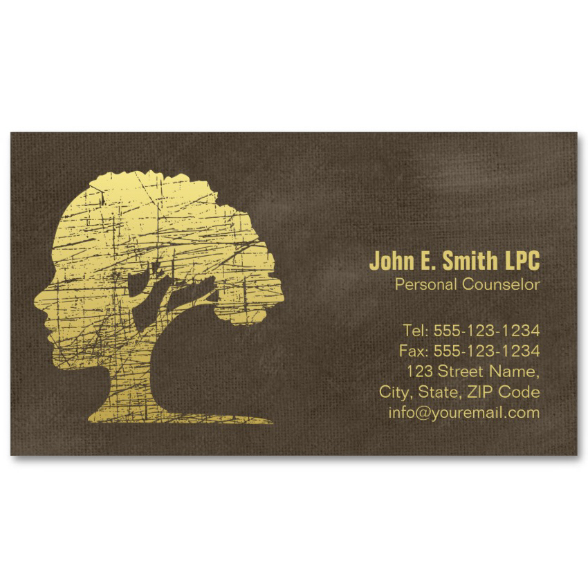 Brown creative psychologist business cards mind and tree