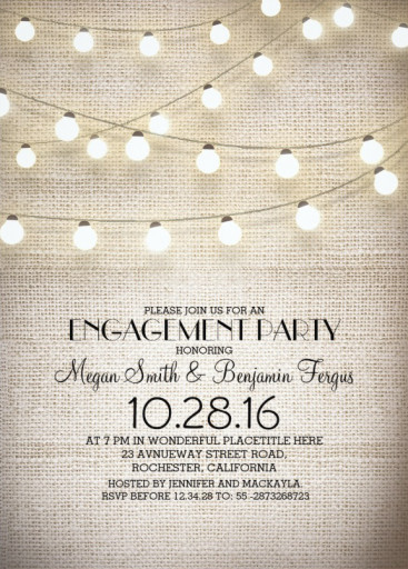 Burlap lace engagement invitation plus rustic string lights