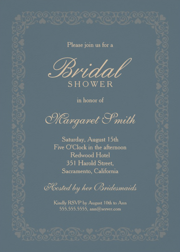 Classic grey blue bridal shower invitations