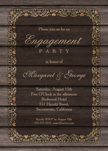 Decorated wood country engagement party invitations