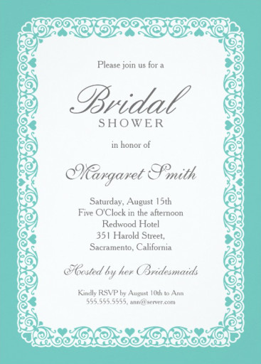Elegant aqua blue bridal shower invitations